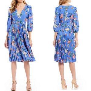 Eliza J Blue Floral Pleated Faux Wrap Midi Dress